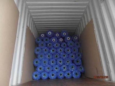 Rolls packed into the container, ready for transport