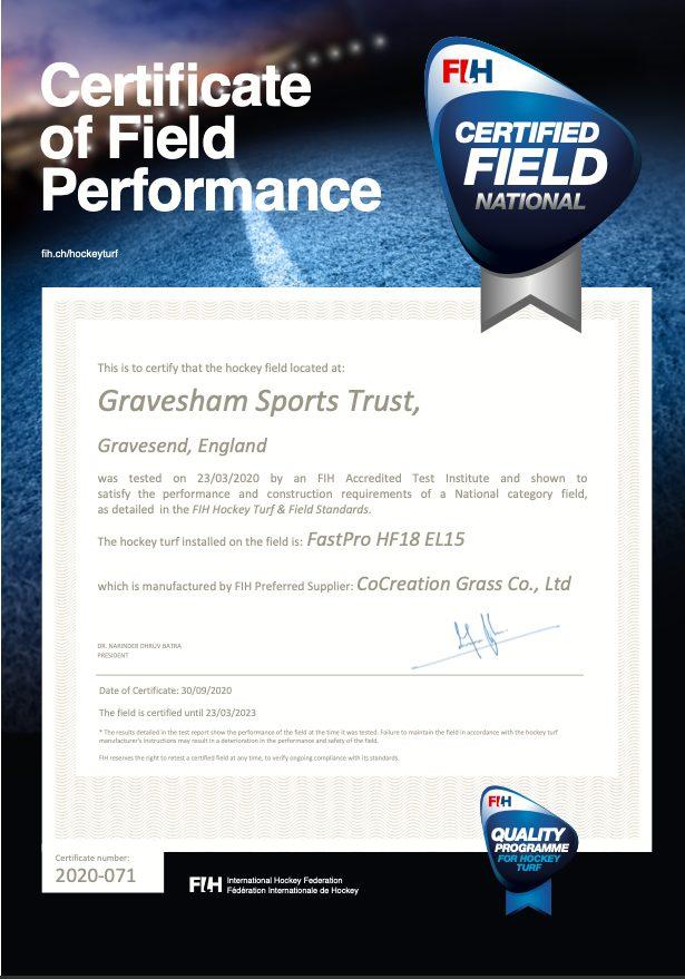 Gravesham FIH Certificate